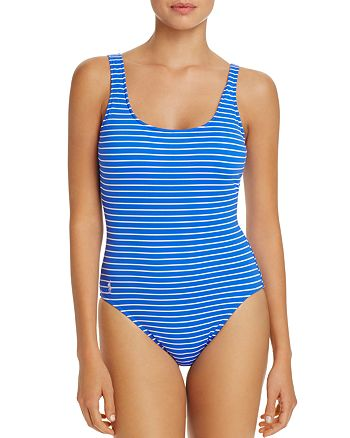 Ralph Lauren - Striped Lace Back One Piece Swimsuit