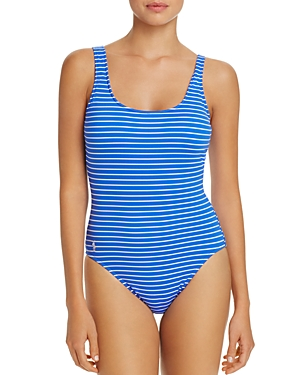 Polo Ralph Lauren Striped Lace Back One Piece Swimsuit