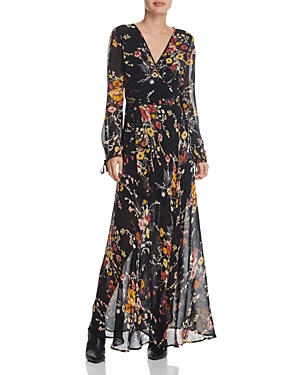 Band of Gypsies Floral Print Maxi Wrap Dress