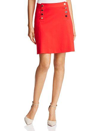 Three Dots - Button Bib Mini Skirt