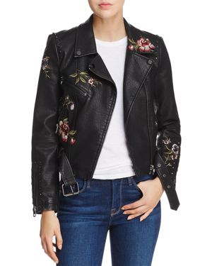 Aqua Embroidered Faux Leather Moto Jacket - 100% Exclusive