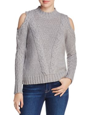 Aqua Cable Knit Cold-Shoulder Sweater - 100% Exclusive