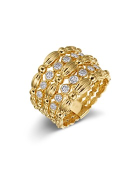 Gumuchian - 18K Yellow Gold Diamond Five Row Tapered Nutmeg Ring