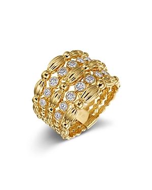 Gumuchian 18K Yellow Gold Diamond Five Row Tapered Nutmeg Ring