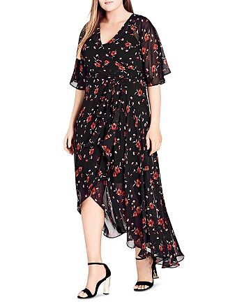 City Chic Plus - Fall in Love Wrap Dress