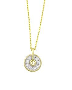 "Frederic Sage - 18K White & Yellow Gold Firenze Diamond Mini Spinning Disc Pendant Necklace, 16"""