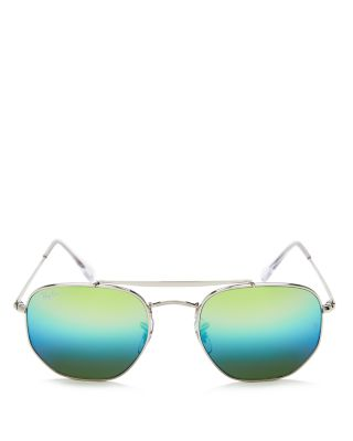 d56932a8836 ... czech ray ban ray ban unisex marshal mirrored hexagonal sunglasses 54mm  in blue green 2bf06 cb01a