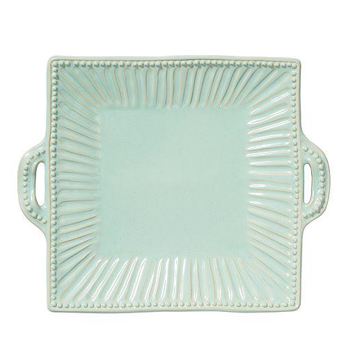 VIETRI - Incanto Stone Aqua Stripe Square Handled Platter
