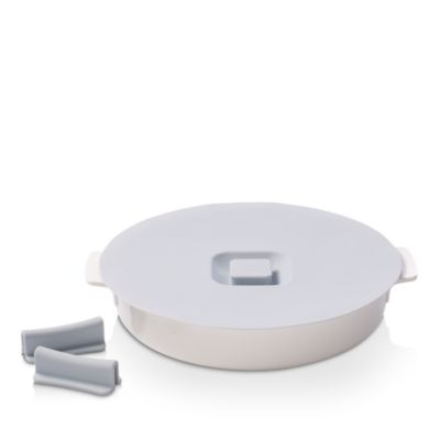 Clever Cooking Round Baking Dish with Lid & Set of Silcone Handles