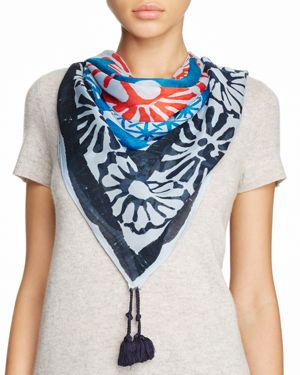 Tory Burch Floral Logo Oversized Square Scarf