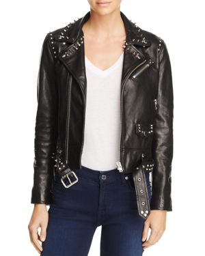 IRO. JEANS GUARA STUDDED LEATHER MOTO JACKET