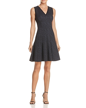 Rebecca Taylor Rose Jacquard Fit-and-Flare Dress