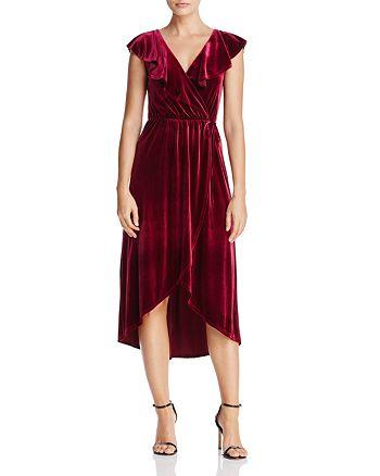 AQUA - Velvet Faux Wrap Dress - 100% Exclusive
