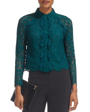 Whistles Suzie Scalloped Lace Shirt