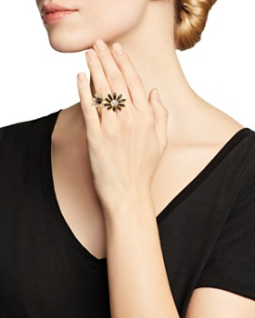 Bloomingdale's - Black & White Diamond Flower Open Ring in 14K Yellow Gold - 100% Exclusive