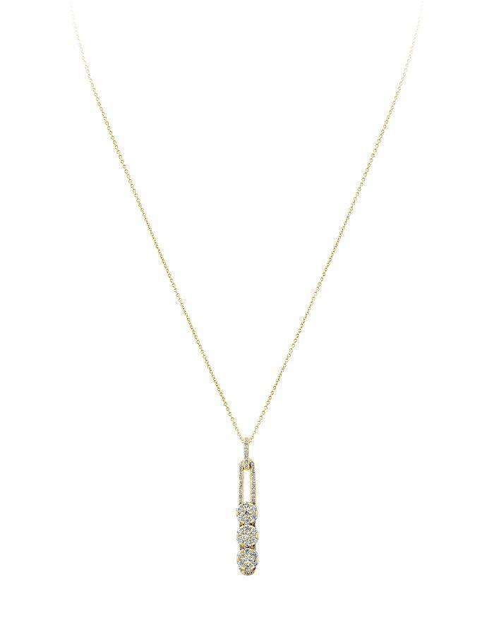 "Hulchi Belluni - 18K Yellow Gold Tresore Diamond Large Linear Pendant Necklace, 16"""