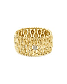 Hulchi Belluni - 18K Yellow Gold Tresore Diamond Banded Stretch Bracelet
