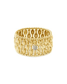 Hulchi Belluni - 18K Yellow Gold Tresore Diamond Banded Stretch Bracelet