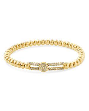 HULCHI BELLUNI 18K YELLOW GOLD TRESORE DIAMOND WIDE STATION STRETCH BRACELET
