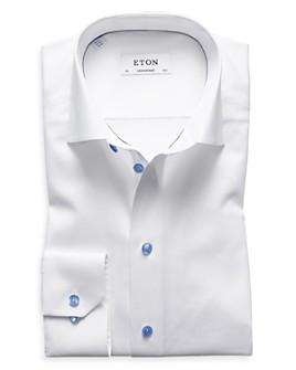 Eton - Slim Fit Contrast Blue Button Twill Dress Shirt