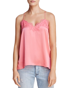 Cami Nyc Lace-Trimmed Silk Racerback Top