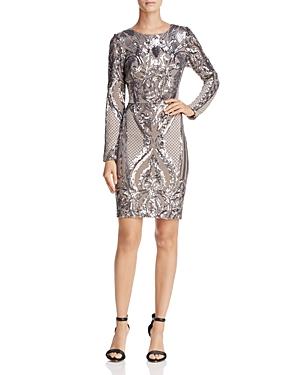 Aqua Long-Sleeve Sequin Dress - 100% Exclusive