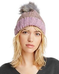 AQUA Metallic Fur Pom Pom Hat - 100% Exclusive - Bloomingdale's_0