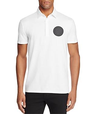 Versace Bianco Ottico Patch Logo Jersey Short Sleeve Polo Shirt