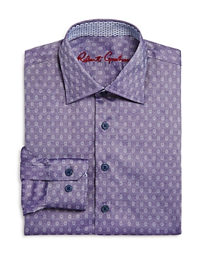 Robert Graham Boys Gene Motif Dress Shirt  Big Kid