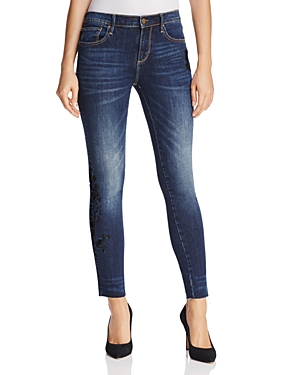 Aqua Embroidered Skinny Jeans in Dark Blue - 100% Exclusive