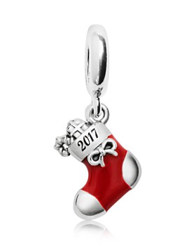 PANDORA - Limited Edition 2017 Sterling Silver, Enamel & Cubic Zirconia Engraved Christmas Stocking Charm Gift Set