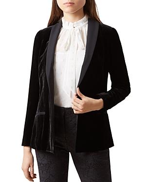 Hobbs London Mila Shawl-Collar Velvet Jacket