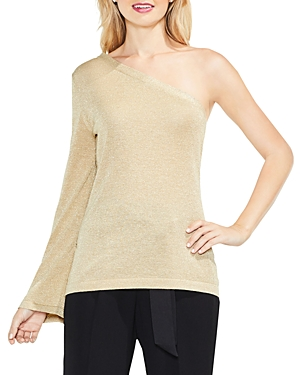 Vince Camuto One Shoulder Bell Sleeve Metallic Top