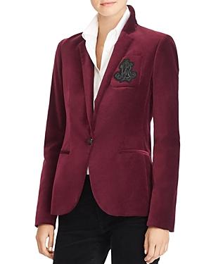 Lauren Ralph Lauren Velvet Crest Embroidered Blazer