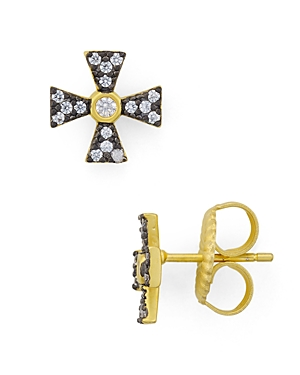 Freida Rothman Thin Cross Stud Earrings