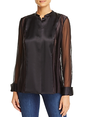 Elie Tahari Temptra Mixed Media Blouse