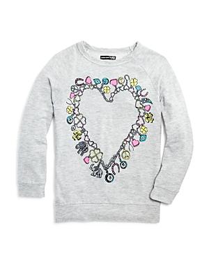 Aqua x Lauren Moshi Girls' Charm-Bracelet Heart Pullover, Big Kid - 100% Exclusive