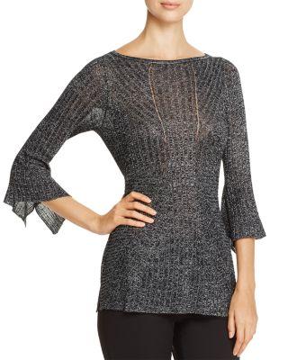 HEATHER B Ribbed Metallic Bell Sleeve Sweater - 100% Exclusive in Black