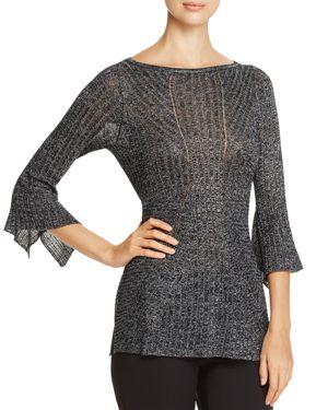 Heather B Ribbed Metallic Bell Sleeve Sweater - 100% Exclusive