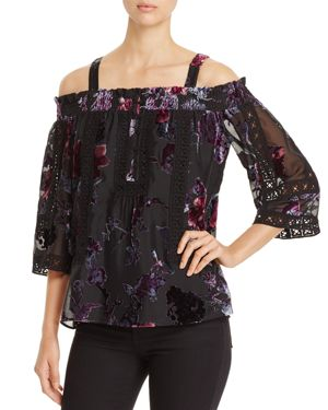 DANIEL RAINN VELVET BURNOUT COLD SHOULDER TOP