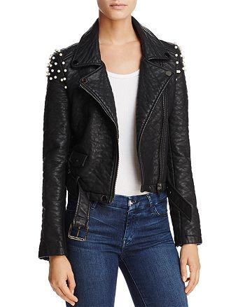 Joe's Jeans - Taylor Embellished Faux Leather Motorcycle Jacket