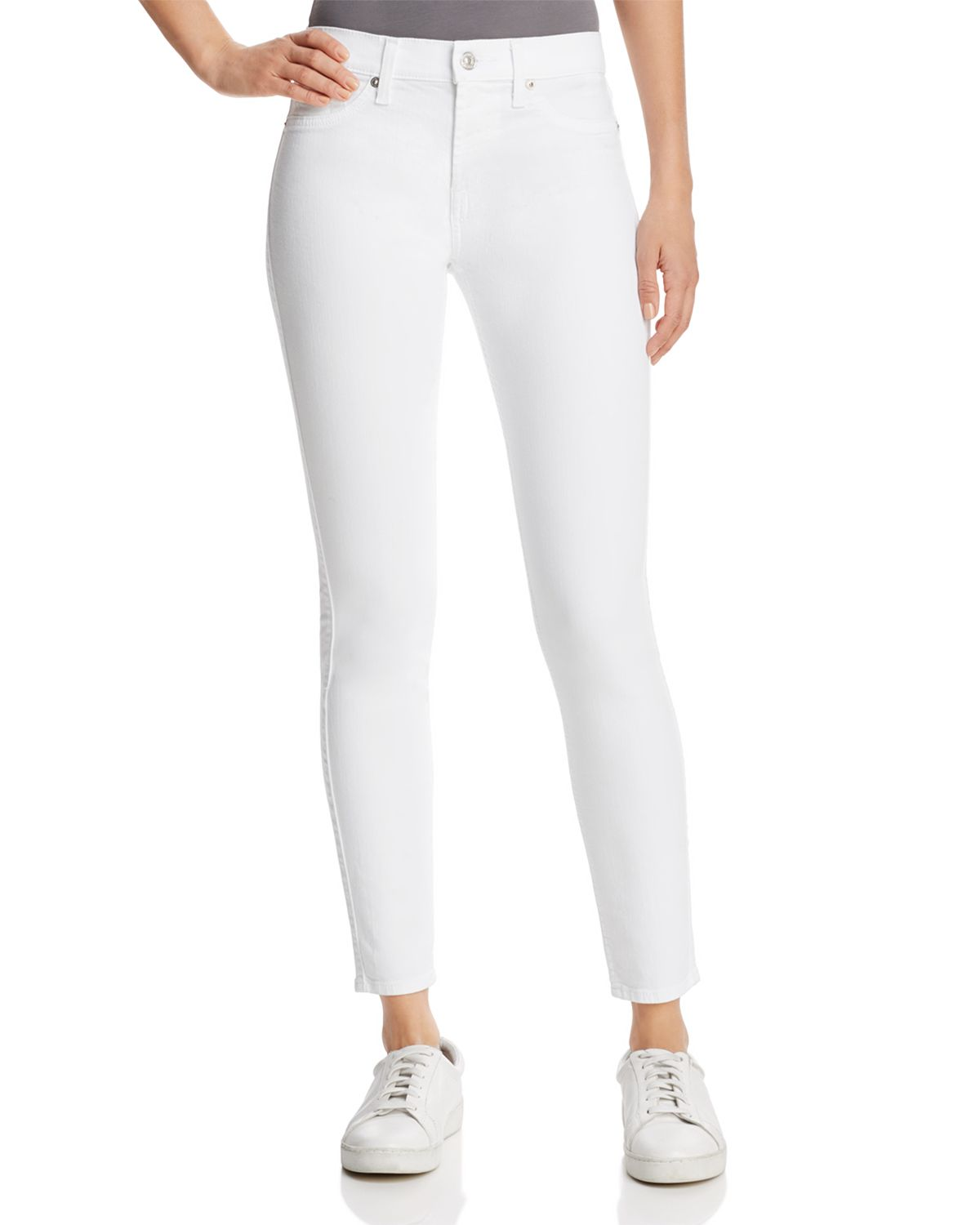 The Ankle Skinny Jeans In Clean White by 7 For All Mankind