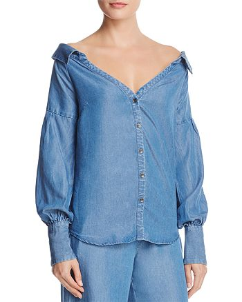 Ella Moss - Off-the-Shoulder Chambray Shirt