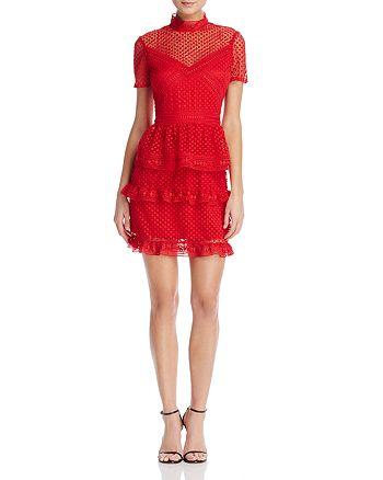 AQUA - Short-Sleeve Ruffled Dot Lace Dress - 100% Exclusive