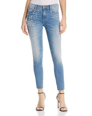 Aqua Embellished Raw-Edge Skinny Jeans in Light Wash - 100% Exclusive