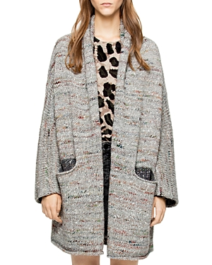 Zadig & Voltaire Mia Two-Tone Open-Front Cardigan