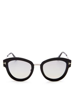 Mia 55Mm Cat Eye Sunglasses - Dark Havana Acetate/ Rose Gold, Shiny Black/Silver Smoke Flash