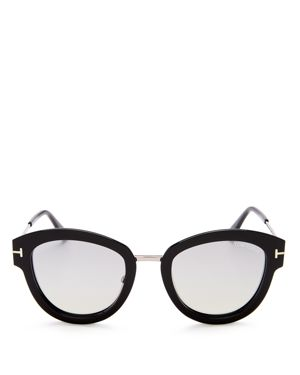 Tom Ford Mia Mirrored Round Sunglasses, 52mm
