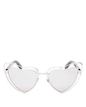 Saint Laurent SL197 Lou Lou Mirrored Heart Sunglasses, 57mm