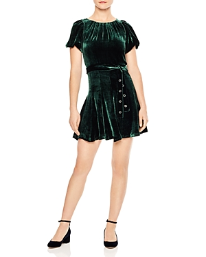 Sandro Stuarty Belted Velvet A-Line Mini Dress
